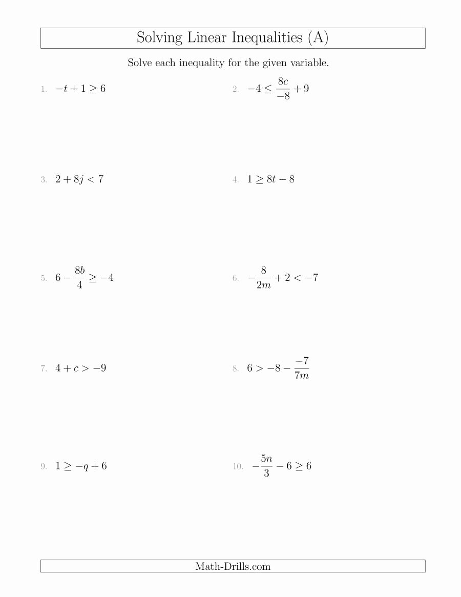 Linear Equations Worksheet with Answers New solving Linear Inequalities Mixed Questions A