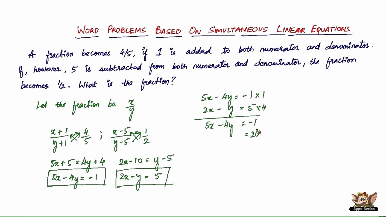 Linear Function Word Problems Worksheet Best Of solve Linear Equations Word Problems Line Free
