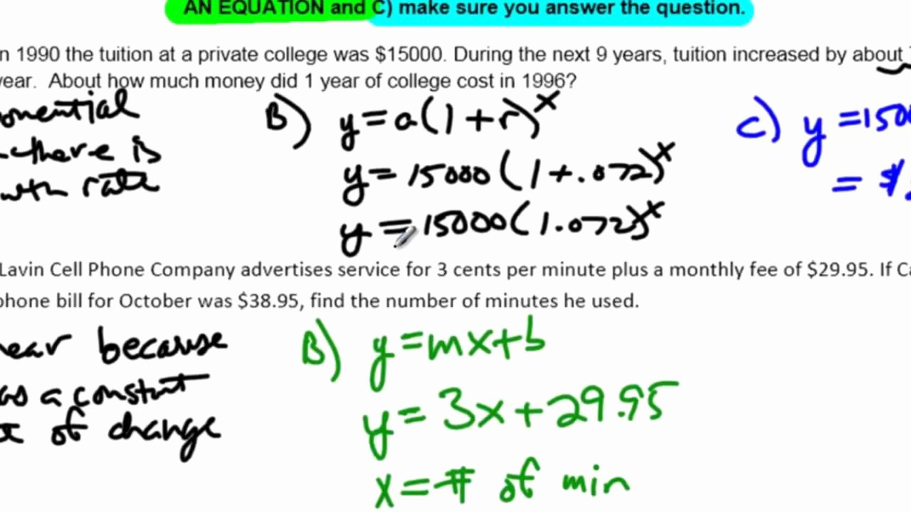Linear Function Word Problems Worksheet Inspirational Unit 10 Lesson 7 No Example 4 Linear Quadratic and