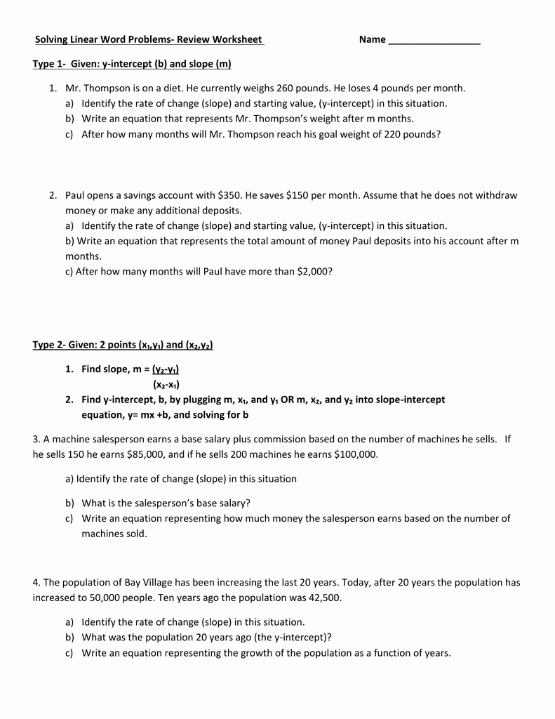 Linear Function Word Problems Worksheet Luxury solving Linear Word Problems Review Worksheet Name Type 1