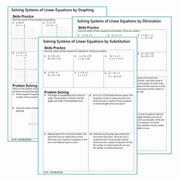 Linear Function Word Problems Worksheet Unique Systems Of Linear Equations Homework Worksheets Skills