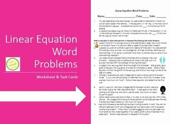 Linear Functions Word Problems Worksheet New Linear Equation Word Problems Worksheet & Task Cards