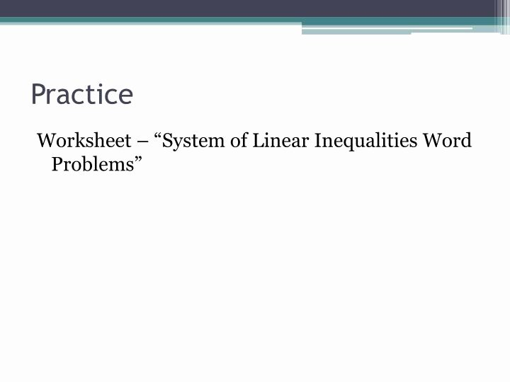 Linear Inequalities Word Problems Worksheet New Ppt 7 6 Systems Of Linear Inequalities Word Problems