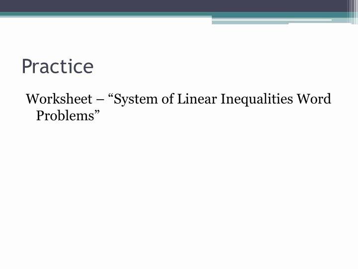 Linear Inequalities Word Problems Worksheet New Ppt 7 6 Systems Of Linear Inequalities Word Problems
