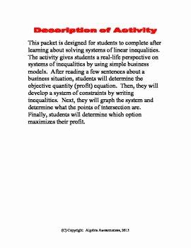 Linear Inequalities Word Problems Worksheet New Systems Of Inequalities Linear Programming Worksheet