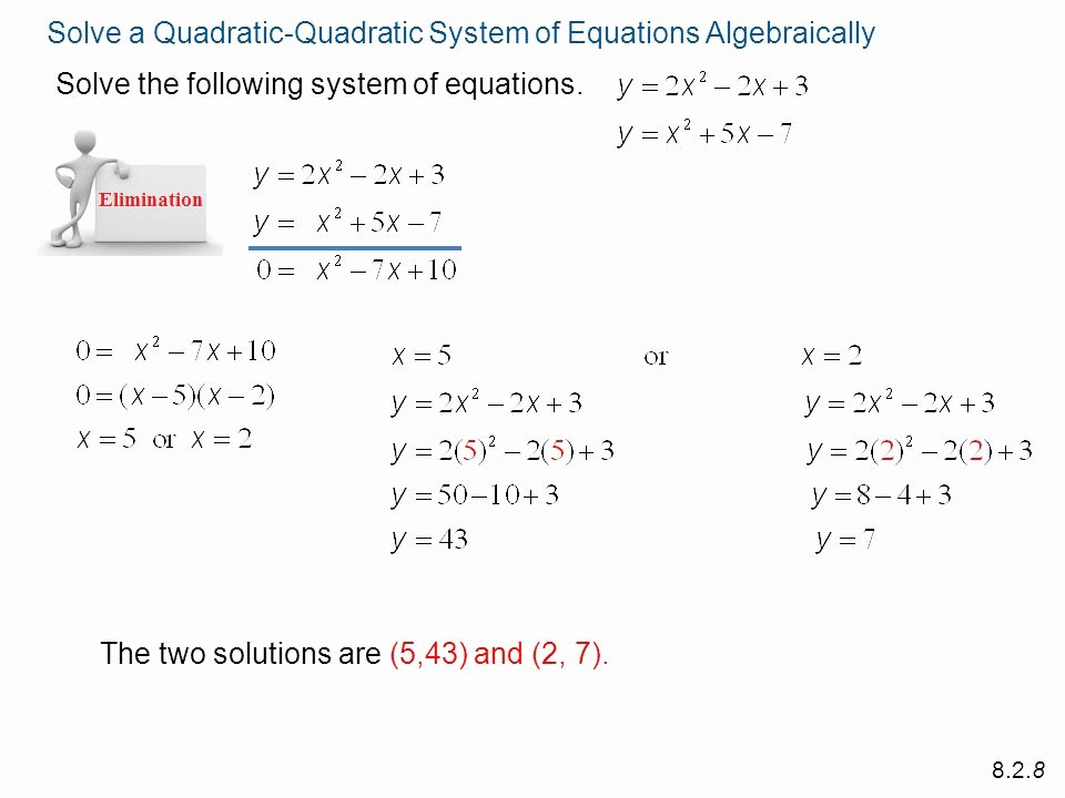 Linear Quadratic Systems Worksheet Elegant Systems Linear and Quadratic Equations Worksheet the