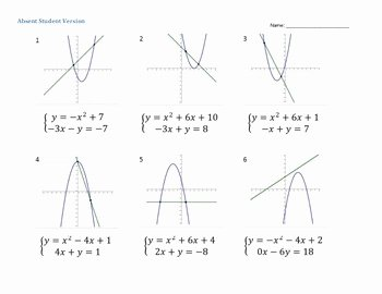 Linear Quadratic Systems Worksheet Inspirational Graphing Nonlinear Systems Of Equations Linear Quadratic