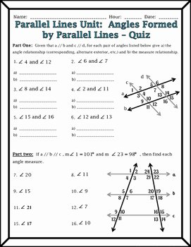 Lines and Angles Worksheet Awesome Parallel Lines Angles formed by Parallel Lines and