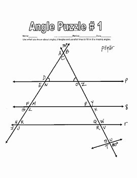 Lines and Angles Worksheet Lovely Parallel Lines Cut by A Tra by Creativemathlessons