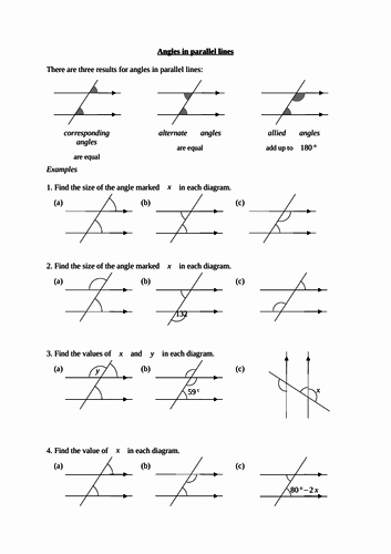 Lines and Angles Worksheet Luxury Angles In Parallel Lines Worksheet by Langy74