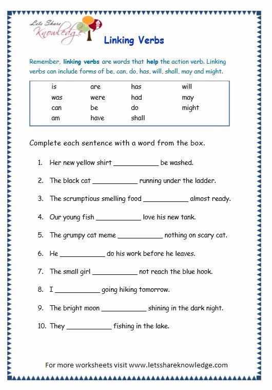 Linking and Helping Verbs Worksheet Awesome Grade 3 Grammar topic 14 Helping Verbs Worksheets Lets