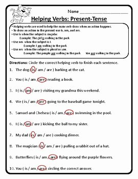 Linking and Helping Verbs Worksheet Awesome Present Tense Helping Verbs Am is are Helping Verbs