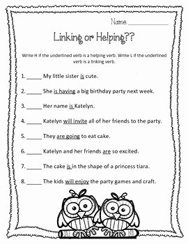 Linking and Helping Verbs Worksheet Beautiful Helping Verbs or Linking Verbs Worksheet and sorting
