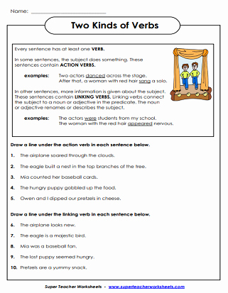 Linking and Helping Verbs Worksheet Best Of Verb Worksheets Action Verbs Linking Verbs Verb Tenses