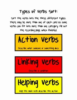 Linking and Helping Verbs Worksheet Elegant Types Of Verb sort Action Linking and Helping by