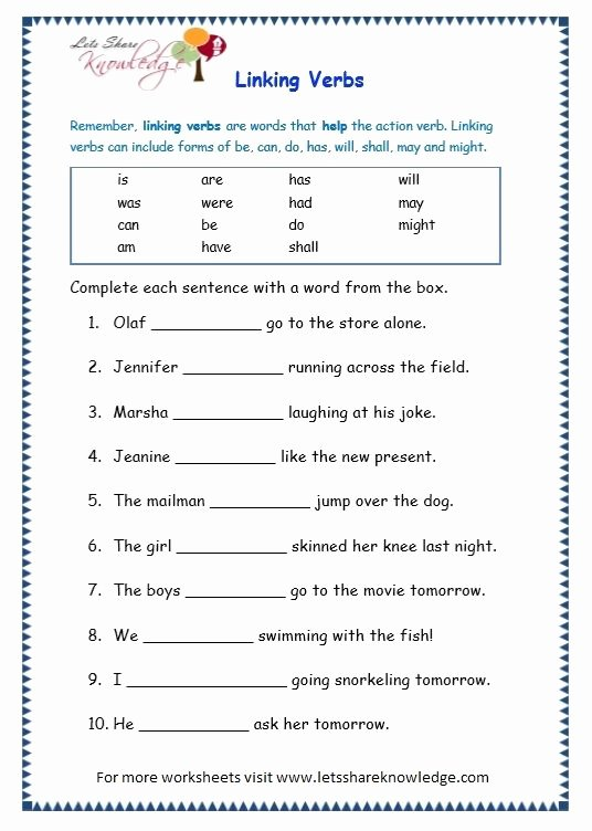 Linking and Helping Verbs Worksheet Inspirational Pin On School