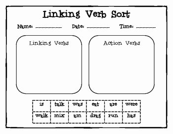 Linking and Helping Verbs Worksheet Lovely Linking Verb sort by Sarah Dellasega
