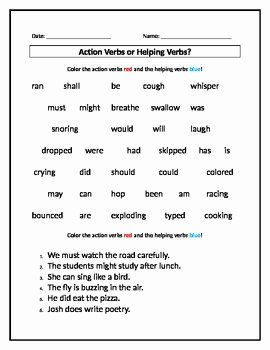 Linking and Helping Verbs Worksheet Luxury Action Verbs or Helping Verbs Worksheet by Stephanie S