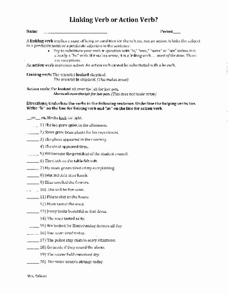 Linking and Helping Verbs Worksheet Unique Linking Verb or Action Verb Worksheet for 5th 7th Grade