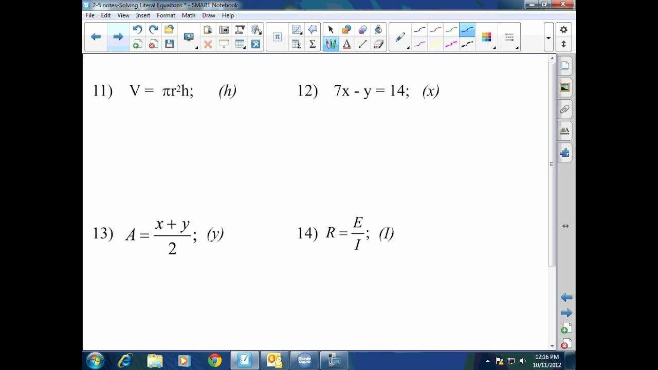 Literal Equations Worksheet Algebra 1 Beautiful Algebra I & Ii solving Literal Equations