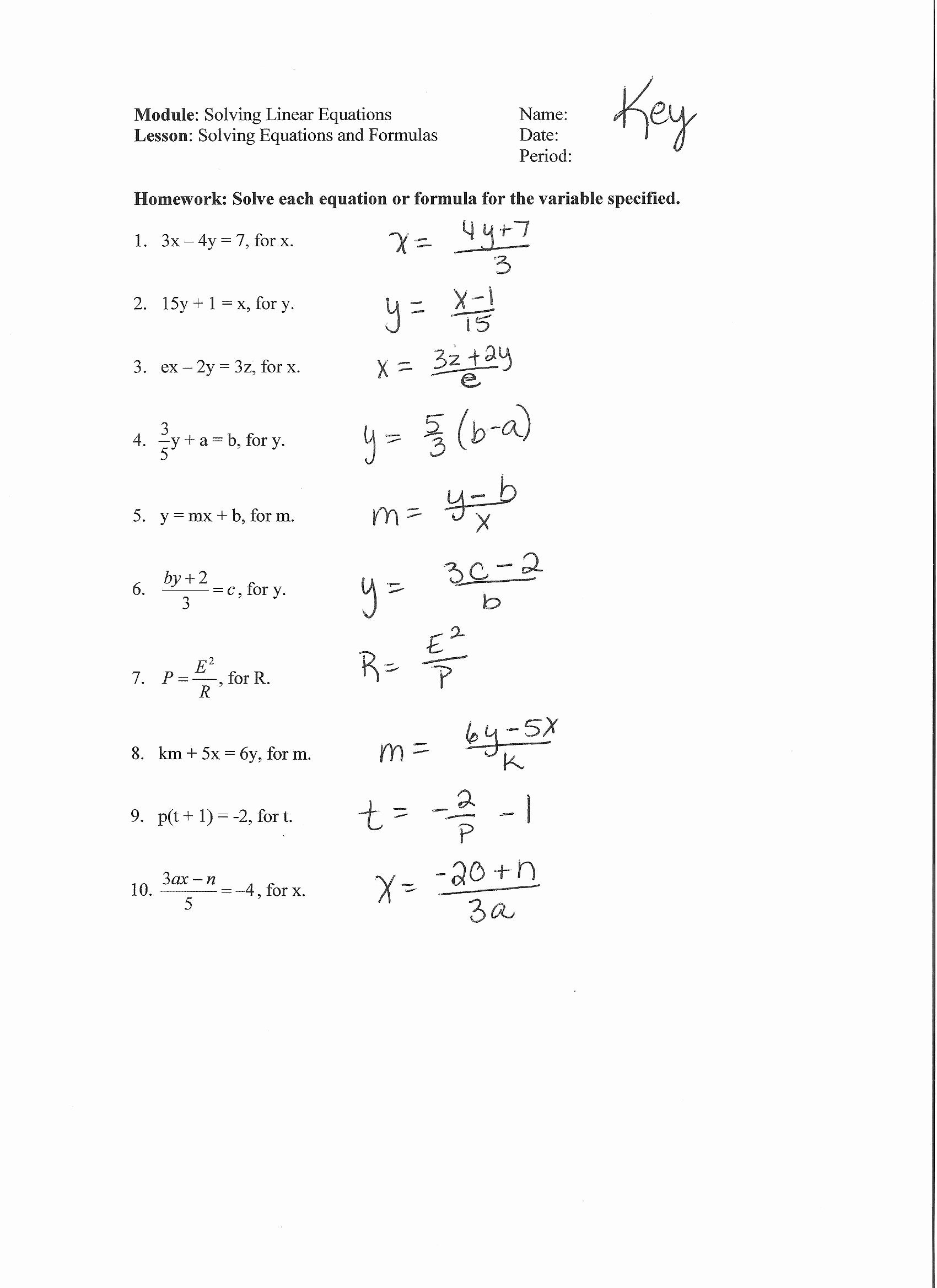 Literal Equations Worksheet Algebra 1 Beautiful Literal Equations Worksheet Kuta