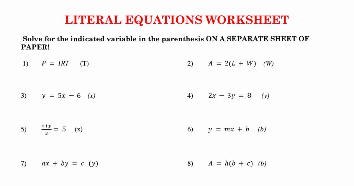Literal Equations Worksheet Algebra 1 Beautiful order Paper Writing Help 24 7 1 Algebra Homework