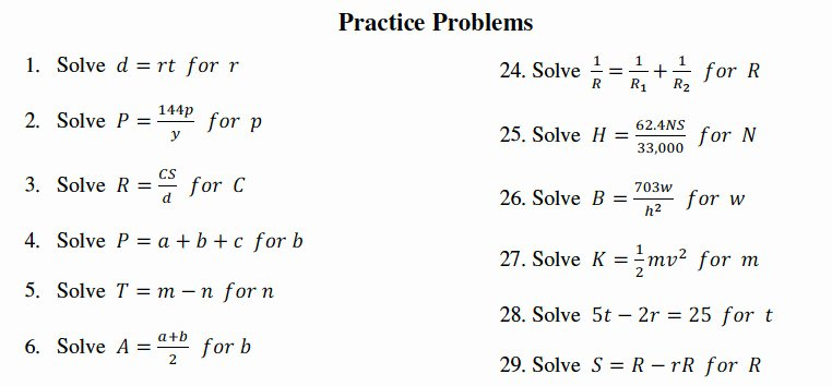 Literal Equations Worksheet Algebra 1 Best Of Literal Equations Worksheet