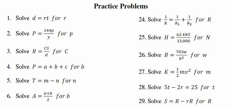 Literal Equations Worksheet Algebra 1 Best Of Literal Equations Worksheet