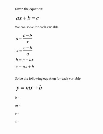 Literal Equations Worksheet Algebra 1 Elegant 28 Best Education Algebra 1 Literal Equations Images On
