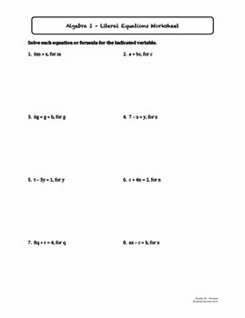 Literal Equations Worksheet Algebra 1 Elegant Literal Equations Lesson Plan with Homework by ashley