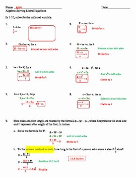 Literal Equations Worksheet Algebra 1 Elegant solving Literal Equations Worksheet by Mon Sense 4 the