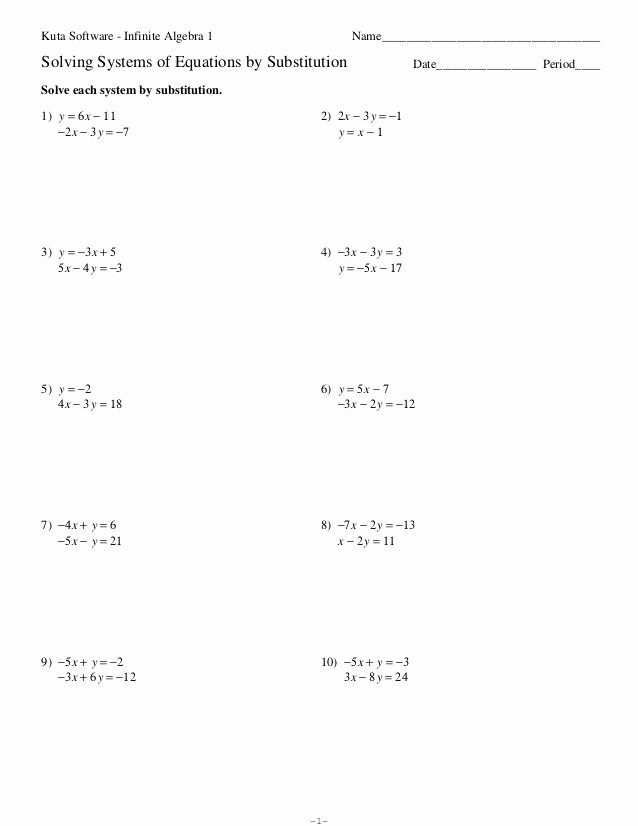 Literal Equations Worksheet Algebra 1 Fresh Systems Of Equations Substitution Worksheet
