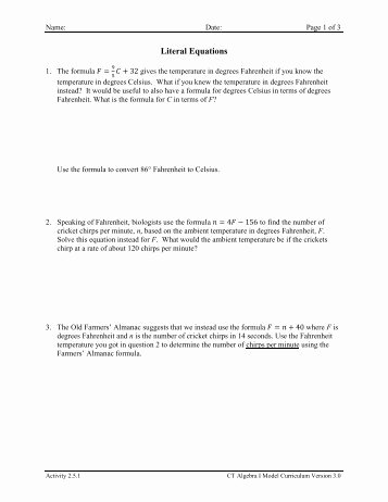 Literal Equations Worksheet Algebra 1 Lovely 1 4 Literal Equations Hw Answers