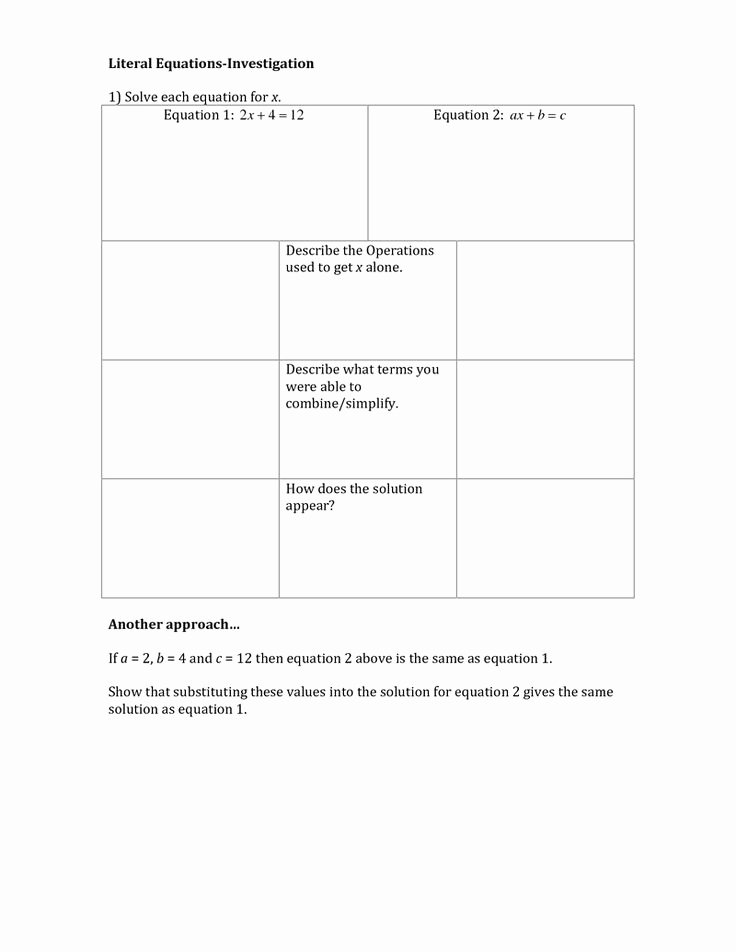 Literal Equations Worksheet Algebra 1 Lovely Literal Equations Education Pinterest