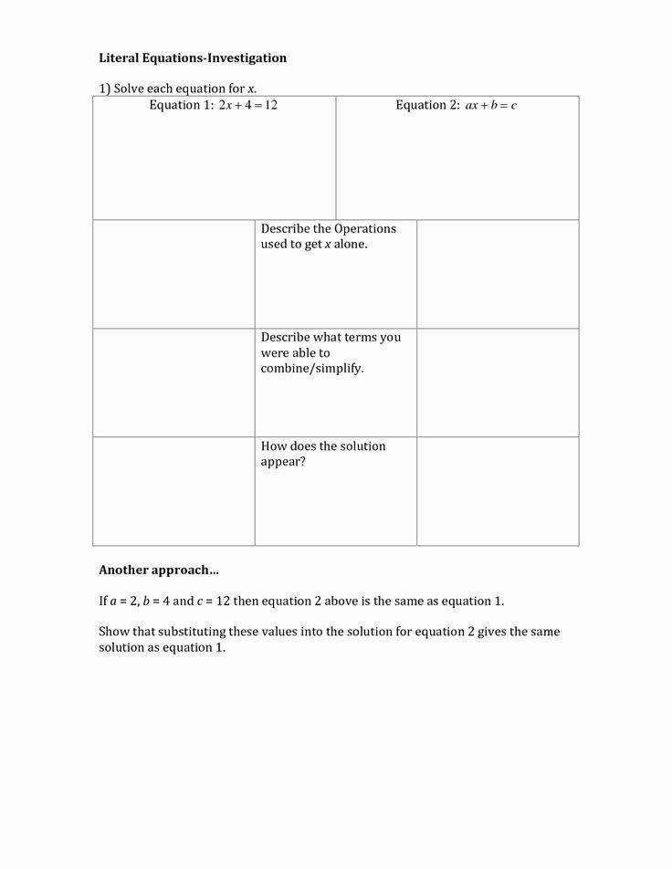Literal Equations Worksheet Algebra 1 Lovely Literal Equations Education Pinterest