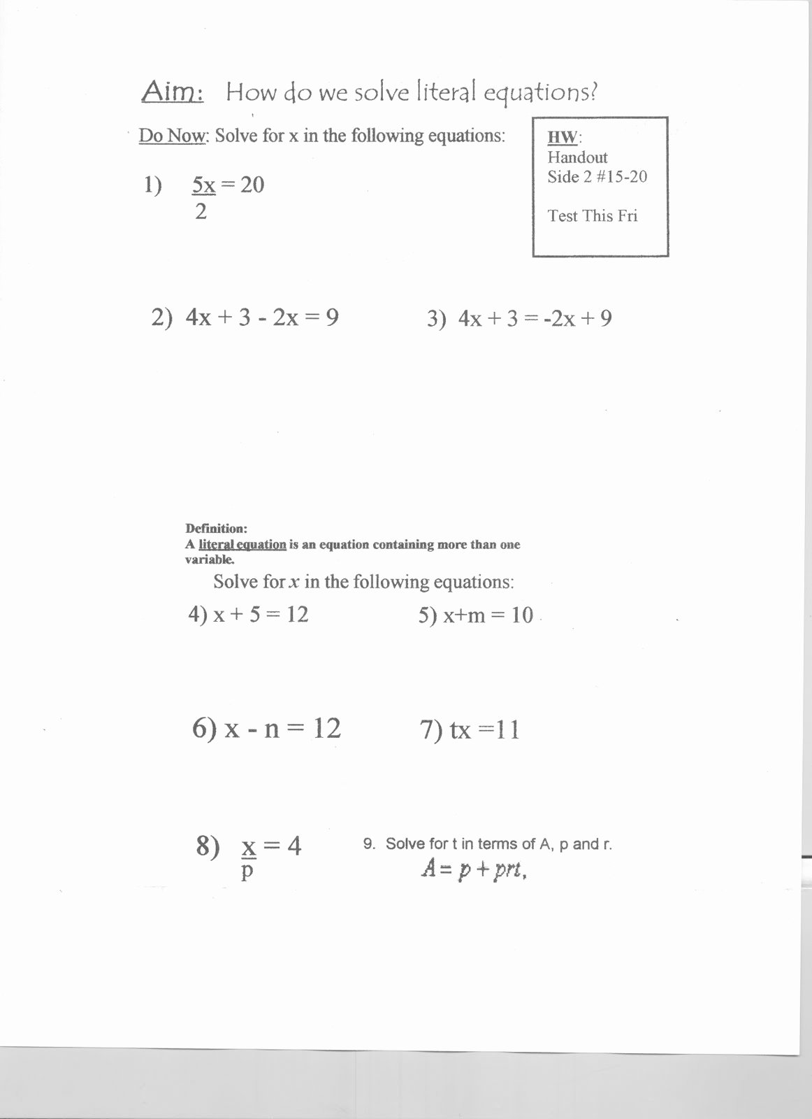 Literal Equations Worksheet Algebra 1 Lovely Mr Napoli S Algebra Aim What are Literal Equations and