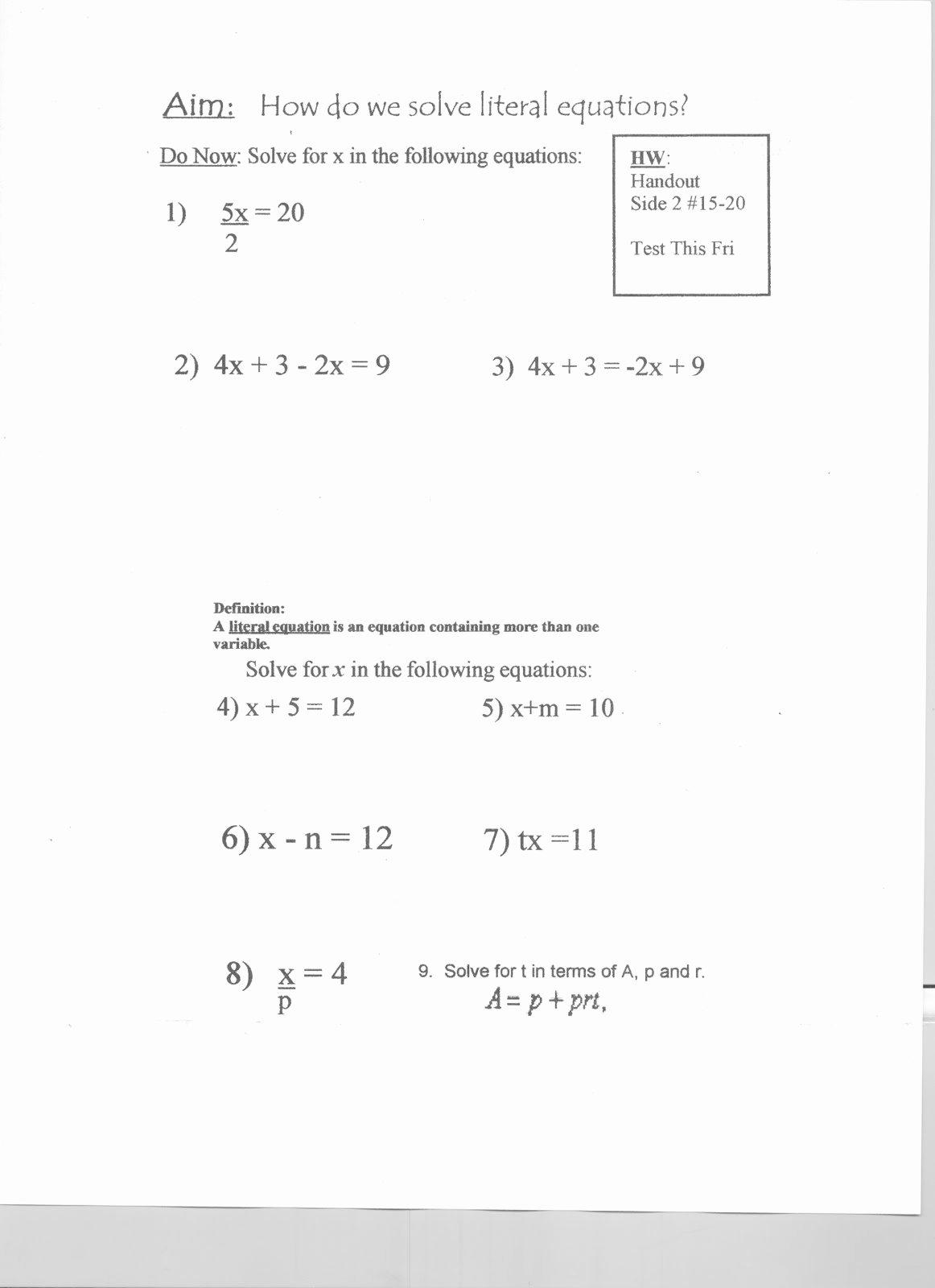 Literal Equations Worksheet Algebra 1 Lovely Mr Napoli S Algebra Aim What are Literal Equations and