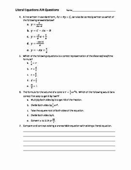Literal Equations Worksheet Algebra 1 Luxury 10 Best Images About Education Algebra 1 Literal Equations