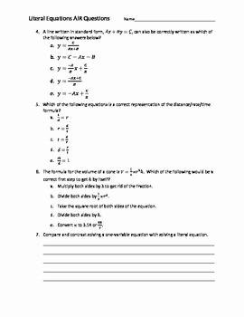 Literal Equations Worksheet Algebra 1 Luxury 10 Best Images About Education Algebra 1 Literal Equations