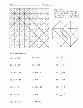 Literal Equations Worksheet Algebra 1 New solving Single Step Equations Color Worksheet