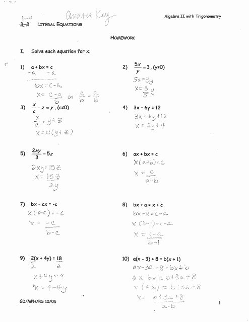 Literal Equations Worksheet Algebra 1 Unique 1 4 Literal Equations Hw Answers