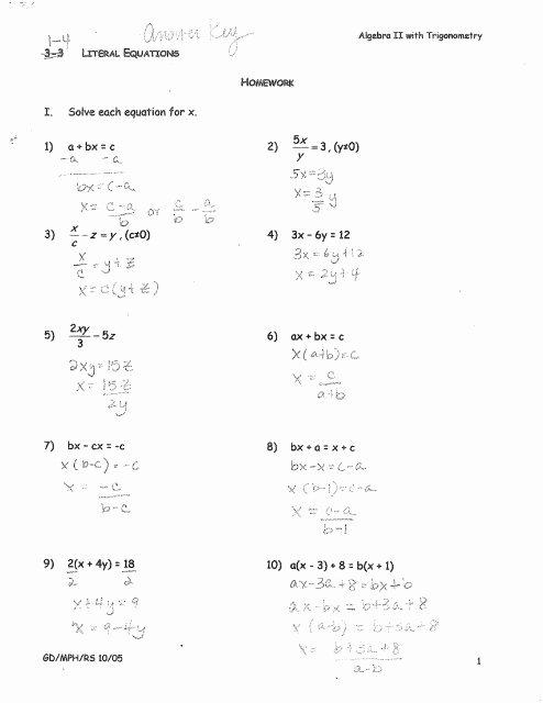 Literal Equations Worksheet Algebra 1 Unique 1 4 Literal Equations Hw Answers