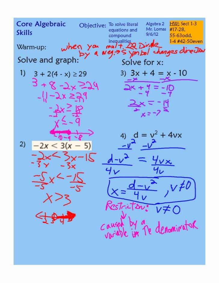 Literal Equations Worksheet Algebra 1 Unique solving Literal Equations and Pound Inequalities Pdf
