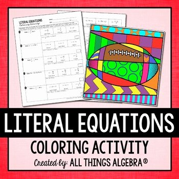 Literal Equations Worksheet Answer Awesome Literal Equations Coloring Activity by All Things Algebra