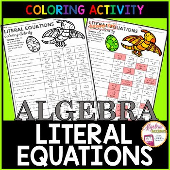 Literal Equations Worksheet Answer Beautiful Writing Literal Equations Coloring Activity by Algebra