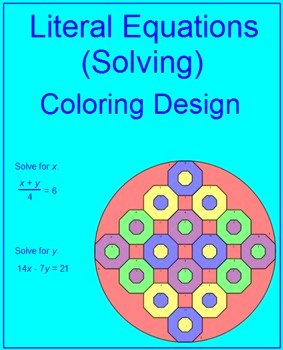 Literal Equations Worksheet Answer Best Of Literal Equations solving 1 Coloring Activity