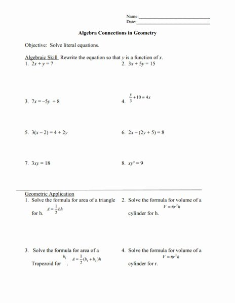 Literal Equations Worksheet Answer Fresh Literal Equations Worksheet