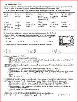 Literal Equations Worksheet Answer Key Beautiful Literal Equations solving Literal Equations with Answer