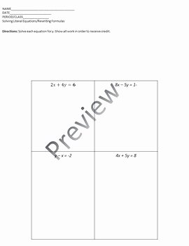 Literal Equations Worksheet Answer Key Beautiful solving Literal Equations Rewriting formulas by Bringing