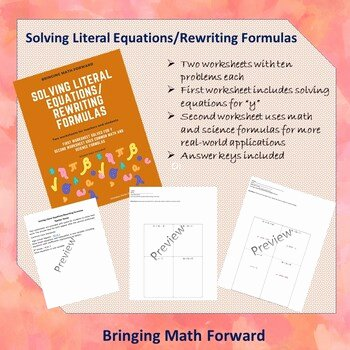 Literal Equations Worksheet Answer Key Best Of solving Literal Equations Rewriting formulas by Bringing